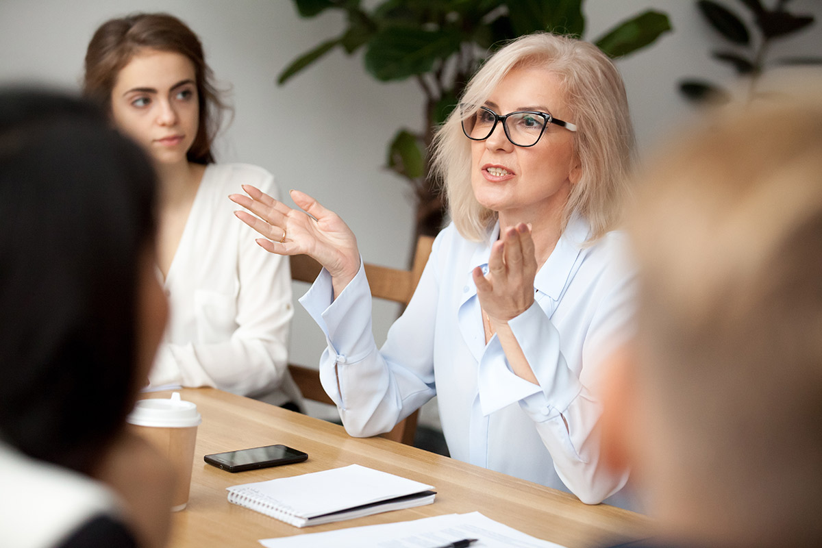 woman speaking in a conference meeting